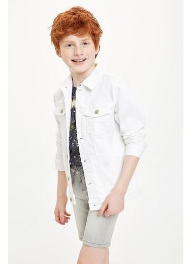 DeFacto Erkek Çocuk Western Jean Ceket Beyaz